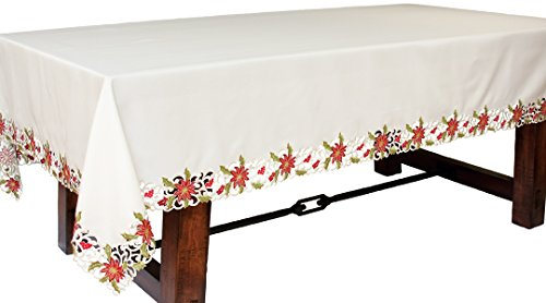 Xia Home Fashions Poinsettia Lace Embroidered Cutwork Chr...