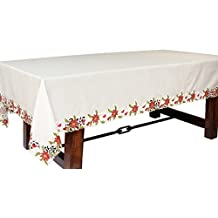 Xia Home Fashions Poinsettia Lace Embroidered Cutwork Christmas Tablecloth, 70 by 120""