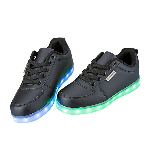 con di di per Il Regalo Scarpe Partito Unisex con del Colori Certificato Nero USB LED Carica da Promenade Tennis Natale 3 Giorno Lampeggiante Luci 7 CE del Shinmax Scarpe HxO1qv1