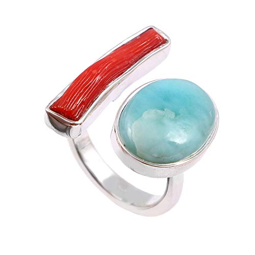 ❤️❤️ Natural Red Coral, Larimar ️Ring Adjustable ❤️❤️ | 925 Sterling Silver | Handcrafted Designer Stylish Charm Fashion Jewelry | Gift for Women, Ladies and Girls | Sky-Blue, Red Color | Oval Shape