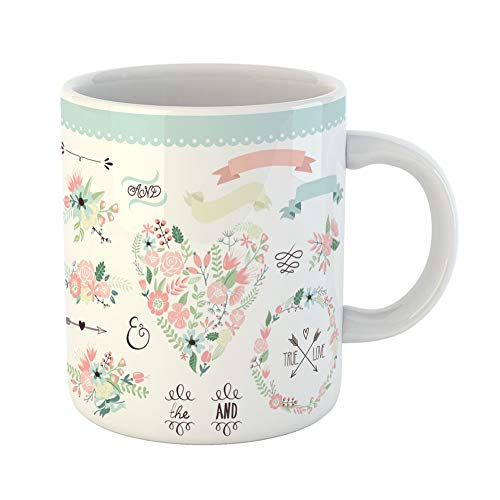 (Emvency Coffee Tea Mug Gift 11 Ounces Funny Ceramic Wedding Graphic Wreath Flowers Arrows Hearts Laurel Ribbons and Labels Gifts For Family Friends Coworkers Boss)