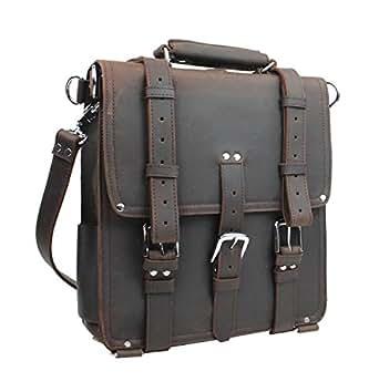 "Vagabond Traveler Hiker 14"" Tall Cowhide Full Leather Backpack L03 Dark Brown."