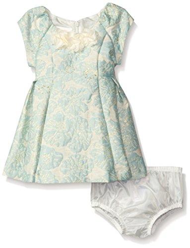 Bonnie Baby Baby Girls Short Sleeved Brocade Dress with Princess Seams, Mint, 12 Months - Brocade Metallic Jacquard Trim