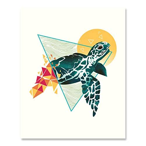 Amazon.com: Geometric Turtle Art Print Beautiful Underwater Ocean Life Inspiration Wall Art