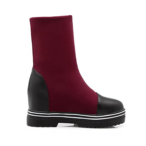 AgooLar Damen Hoher Absatz Mitte-Spitze Rund Zehe Blend-Materialien Stiefel, Rot, 34
