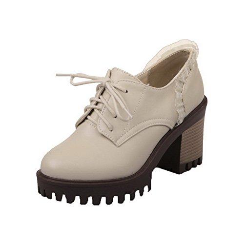 Stringate Donne Floreali Round Amoonyfashion Alti Pompe Beige Tacchi scarpe Pu Delle toe TvwqT