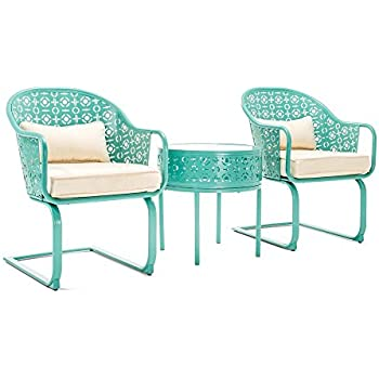 Amazon Com La Z Boy Outdoor Blue Parsons 3 Piece Patio