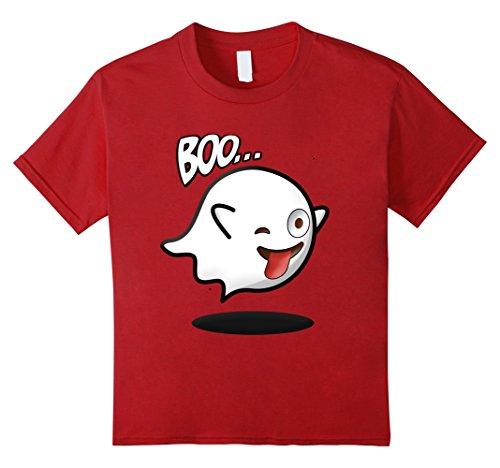 Kids Boo Emoji stuck out tongue and winking eye shirt Halloween 4 Cranberry