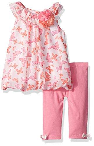 Little Me Baby Toddler Girls' Chiffon Tunic and Capri Set, Pink/Multi, 4T (Toddler Girls Capri Set)