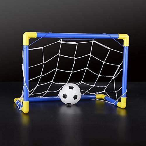 Rete di piegamento della rete di scopo di calcio di calcio messa con il giocattolo blu e giallo della pompa di sport dei bambini