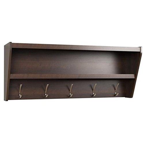 Prepac Floating Entryway Shelf & Coat Rack in Espresso