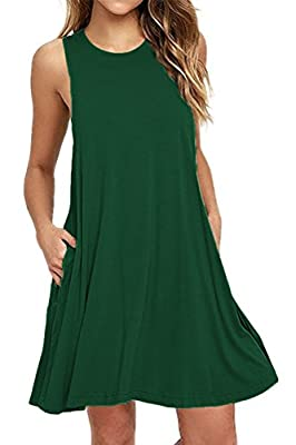 VOGRACE Women's Sleeveless Pockets Casual Swing T-shirt Dresses Tank Dress
