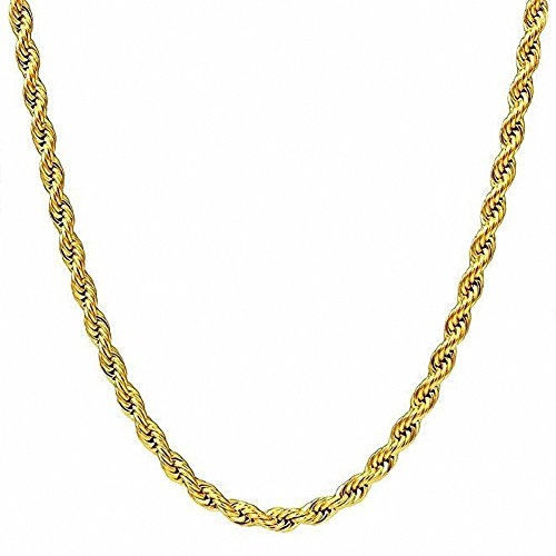 3MM Wide Womens Mens Stainless Steel Necklace 18K Gold Plated Wheat Link Twisted Rope Chain 18''~30'' (Gold ()