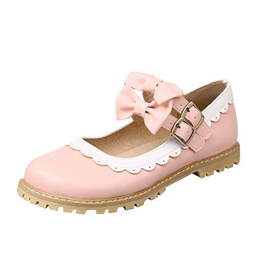 Charm Foot Womens Lolita Cosplay Bow Flat Mary Jane Scarpe Rosa