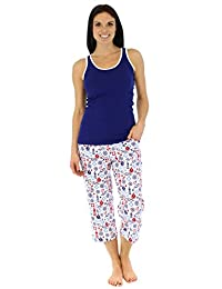 SleepytimePjs Women's Sleepwear Cotton Tank and Capri Pajama Pj Set