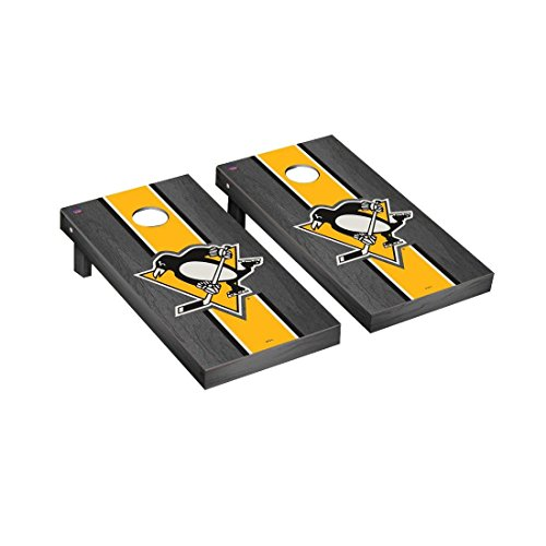 Victory Tailgate Pittsburgh Penguins NHL Regulation Cornhole Game Set Onyx Stripe Version