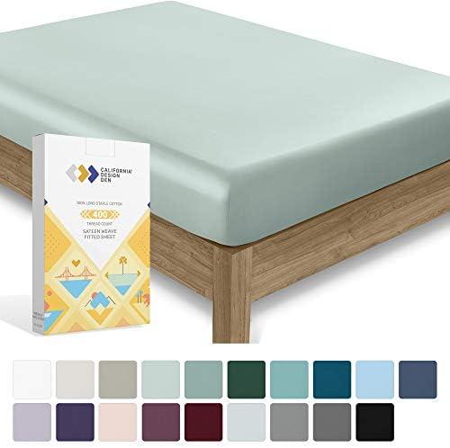 California Design Den 400 Thread Count 100 Cotton 1 Fitted Sheet Only Modern Aqua Spa California