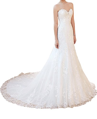 Ruisha Women's Short Sleeves Applique Dropped Waist Wedding Dress With Detachable Jacket Bridal Gowns Size 6 (Dropped Waist Wedding Dress)