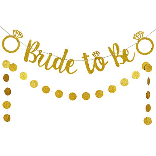 LeeSky Gold Glittery Bride to Be Banner and Gold Glittery Circle Dots Garland (25pcs Circle dots)- Bachelorette Wedding Engagement Party Decoration Supplies ()