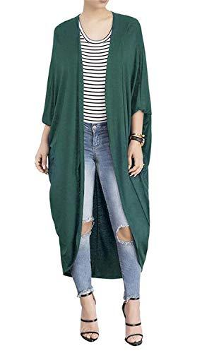 BIRAN Cardigan Femme Printemps Automne Longues Veste en Tricot Elgante Dsinvolte Mode Large Manteau Couleur Unie breal Chauve-Souris Irregular Oversize Outerwear Coat Vert