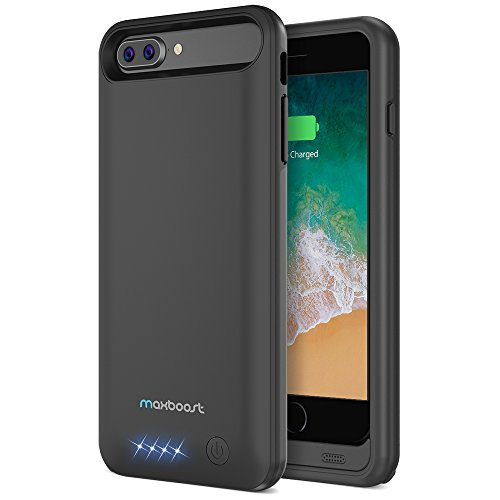 iPhone 8 Plus / iPhone 7 Plus Battery Case, Maxboost [Atomic Power] 4000mAh iPhone 8 Plus Charger / iPhone 7 Plus Charger Rechargeable Extended Battery Cases [Apple MFi Certified] (Black)