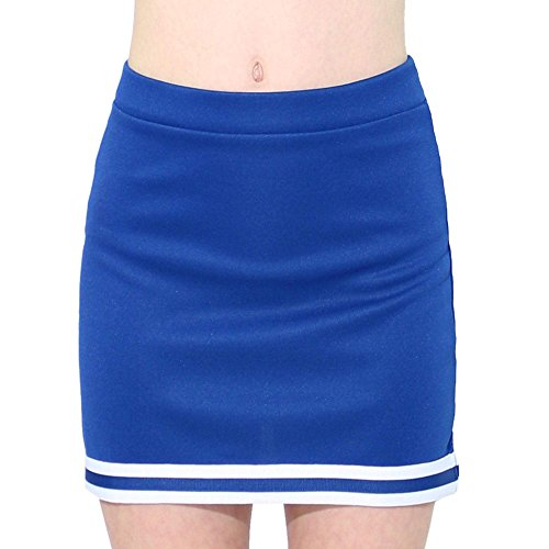 Danzcue Child A-Line Cheerleaders Uniform Skirt, Royal-White, Large