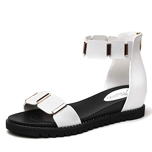 de Sandalias Simple Zapatos Transpirable Estudiante AJUNR Zapatos Roma Mujer white Casual de Playa Sandalia xwHTY8Fq