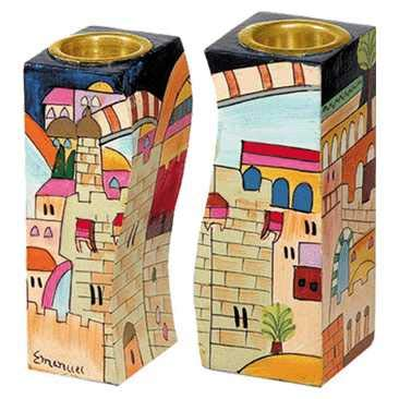 Yair Emanuel Fitted Shabbat Candlesticks with Holy City Depictions