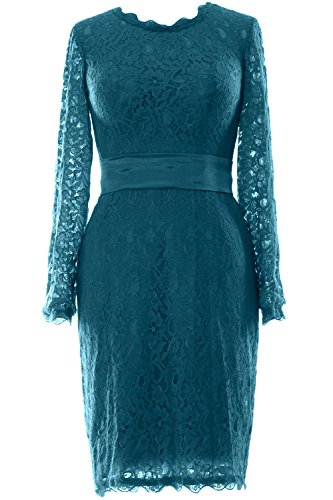 MACloth Women Long Sleeve Lace Short Cocktail Dress Wedding Party Evening Gown Teal HGr6dXjCK5
