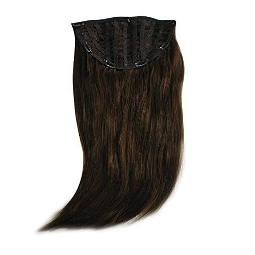 Romantic Angels 100% Remy Human Hair Straight One Piece Clip in Hair Wig with Half Wig 2# Dark - Human Wig Hair 3/4