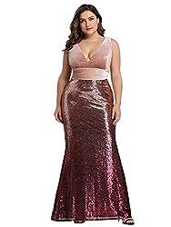 Deep V-Neck Slim Pink Blush Sequin Formal Evening Dress