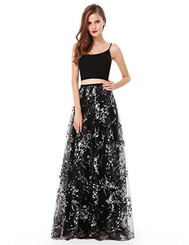 Black 2 Piece Dress (Ever-Pretty Ver Pretty Womens Sexy Printed Two Piece Floor Length Military Ball Dress 8 US Black)
