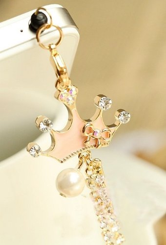 CJB Dust Plug / Earphone Jack Accessory Pink Crown Long Chain for iPhone 4 4s S4 5 All Device with 3.5mm Jack (US Seller)