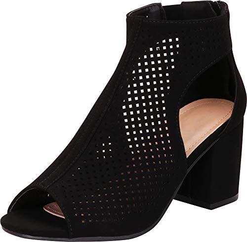 Cambridge Select Women's Open Toe Laser Cutout Perforated Chunky Block Heel Ankle Bootie,9 B(M) US,Black NBPU