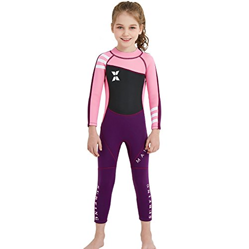 Dark Lightning Kids Wetsuit Full Thermal Suit, Grils Neoprene One Piece Fishing Suits, 2mm Long Sleeve Swimsuit for Children Scuba Diving, Surfing, Paddling, Swimming, Pink, M Size