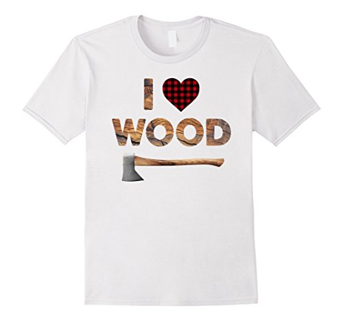 Mens I Love Wood T-Shirt Lumberjack Heart Halloween Costume Tee 2XL White -