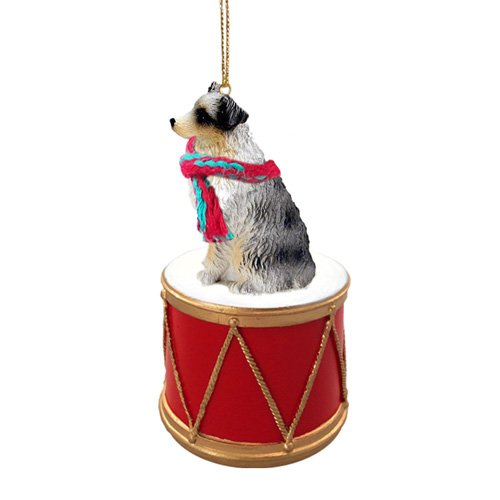 Little Drummer Australian Shepherd Christmas Ornament - Hand Painted - Delightful by Animal Den