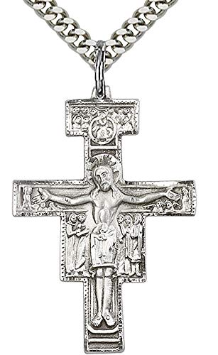 San Damiano Cross Necklace in Fine Pewter, 1-1/4