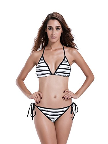 Reteron Women's Stripe Triangle Bikini Swimsuit (L(us8-10), (Stripe Sliding Triangle Top)