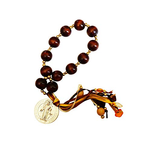(Benedictine House Blessing or Amulet Large 20mm Wood Beads a Silver Plated Saint Benedict Medal and a Ribbon Tassel Includes a Card with a House Prayer)