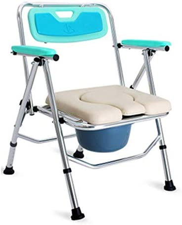 介護用ポータブルトイレ椅子 ポータブルトイレ 折畳可 軽量 防災 介護用 背もたれ・アームレスト付き 仮設トイレ 福祉センター 多機能椅子 高さ調節可