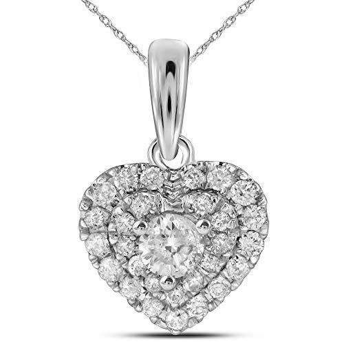 Jawa Jewelers 14kt White Gold Womens Round Diamond Heart Pendant 1/3 Cttw