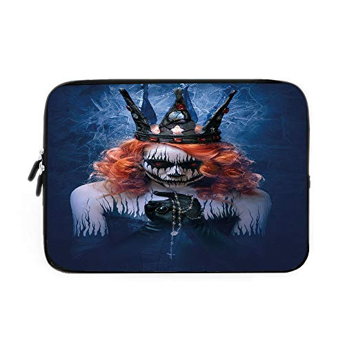 Queen Laptop Sleeve Bag,Neoprene Sleeve Case/Queen of Death Scary Body Art Halloween Evil Face Bizarre Make Up Zombie/for Apple MacBook Air Samsung Google Acer HP DELL Lenovo AsusNavy Blue Or]()