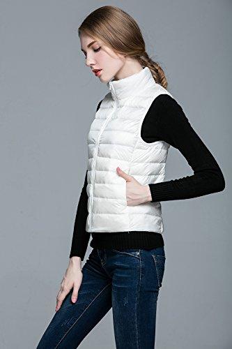 Sans Manche Global Manches Manteau Montant Parka Légère Ultra Hiver Col Pour Gilet Veste Femme Zippée Blouson Doudoune Jacket Tt Blanc dwSxqzIw