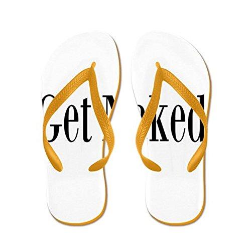 CafePress Get Naked - Flip Flops, Funny Thong Sandals, Beach Sandals Orange