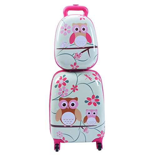 Lucky Link 2pcs ABS Kids Suitcase Carry On Luggage Set for Boys Girls,16 Lightweight Trolley Case + 12 Backpack for Travelling School (Owls)