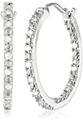 Sterling Silver and Diamond Hoop Earrings (0.25Cttw, J-K Color, I3 Clarity)