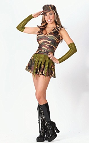 [Sexy Camouflage Army Brat Teens Halloween Costume Junior Size 0-9 #1697] (Military Costumes For Teens)