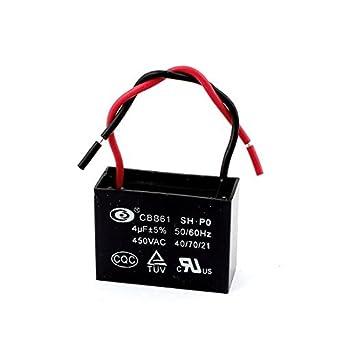 DealMux Deckenventilator Kondensator CBB61 4uF 450VAC 2-Draht 50 ...