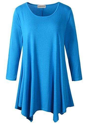 58a47e8244b LARACE Women Plus Size 3 4 Sleeve Tunic Tops Loose Basic Shirt (2X ...